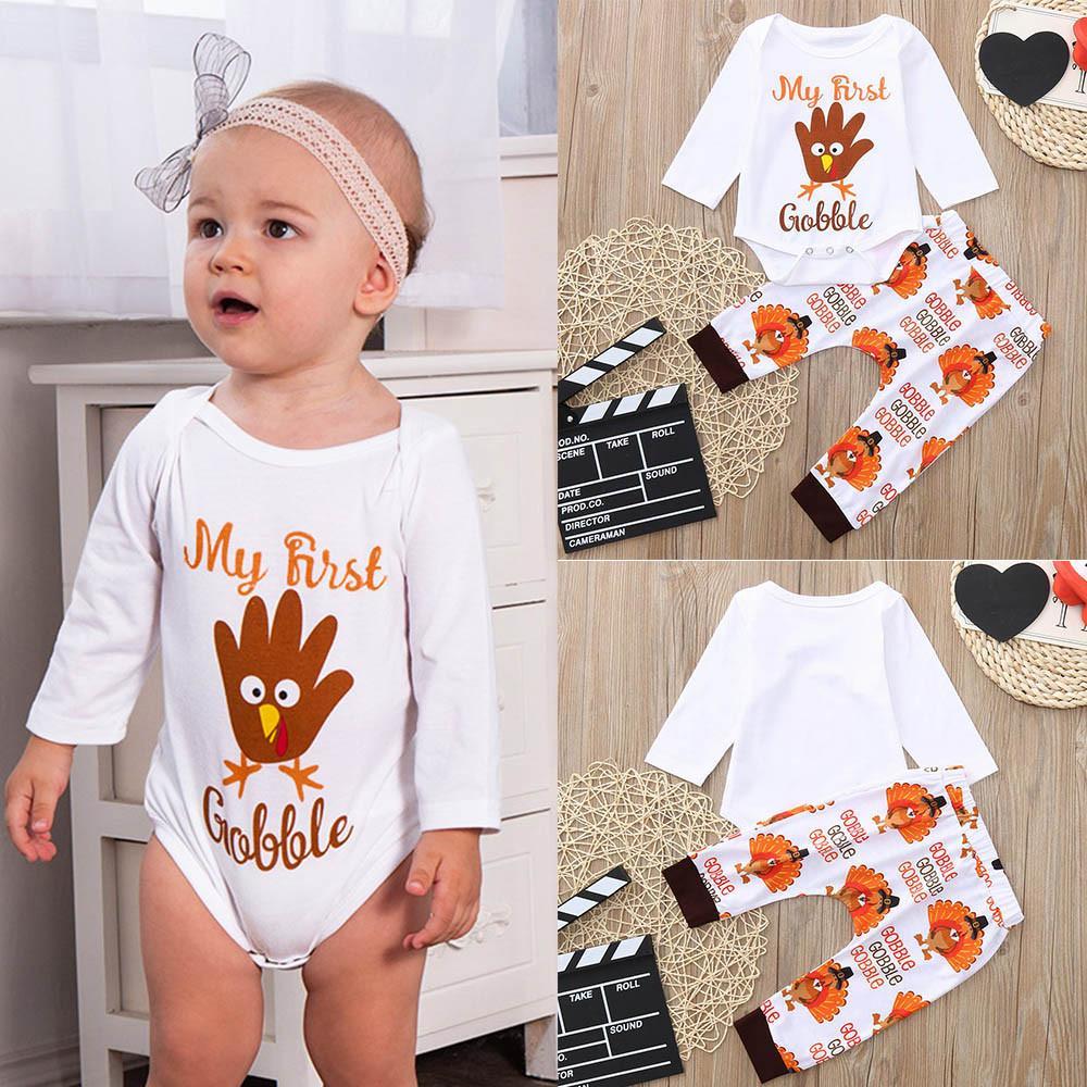 1e7a0efe054a1 MUQGEW Infant Newborn Baby Girl Boy Clothes Thanksgiving Day Letter Print  Romper Jumpsuit Pants Outfits Set roupa de