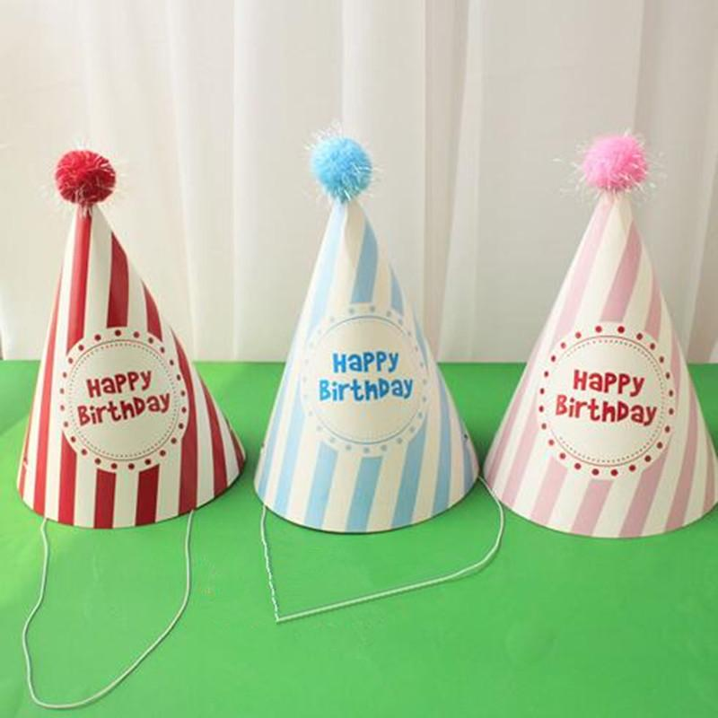 Birthday Hat Dot Stripe Paper Caps Children Head Decorations Kids Gift Toys Party Christmas New Year Personalized Hats