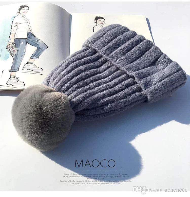 291307d7af Chapéu de moda inverno das mulheres coringa quente espessamento gorro de  tricô novo chapéu com veludo proteção de orelha jovem versão coreana do ...
