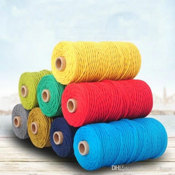 2019 3mm 100m Cotton Cord Rope Diy Macrame Cord Wall Hanging Plant