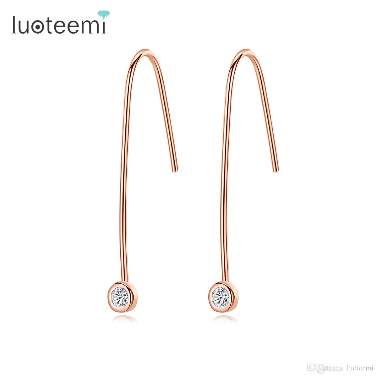 LUOTEEMI Marca de Moda Petite Rose Gold Cor Oscila Brincos Para As Mulheres Genuine 925 Sterling Silver Drop Earrings Jóias Presentes