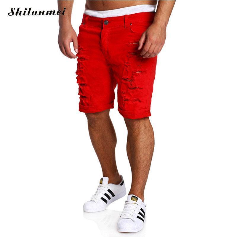 De Pantalones Tallas Mezclilla Compre Agujero Grandes Cortos Con qzSwxEOIx
