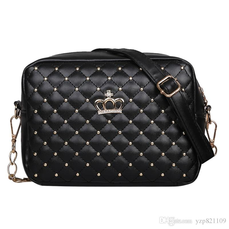 ee1188c833476 2018 Women Bag Fashion Women Messenger Bags Chain Rivet Shoulder Bag High  Quality PU Leather Crossbody Quiled Crown Bags Womens Bags Wholesale Bags  From ...