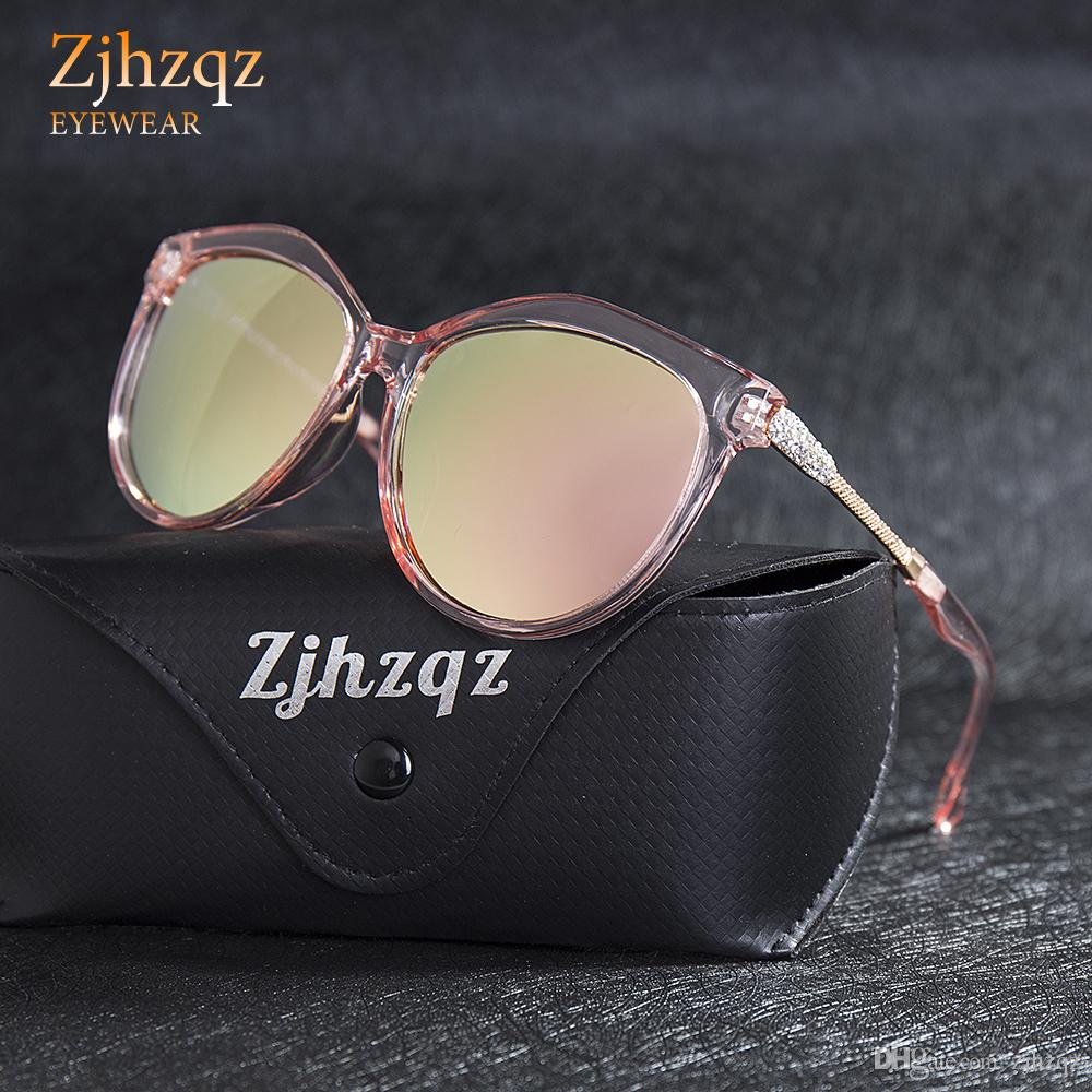 5d7b54b0698 ZJHZQZ Cat Eye Sunglasses Women Fashion Diamond Sun Glasses Lady Brand  Designer Vintage Pink Brown Blue Black Gray Mirror Shades Circle Sunglasses  Glass ...