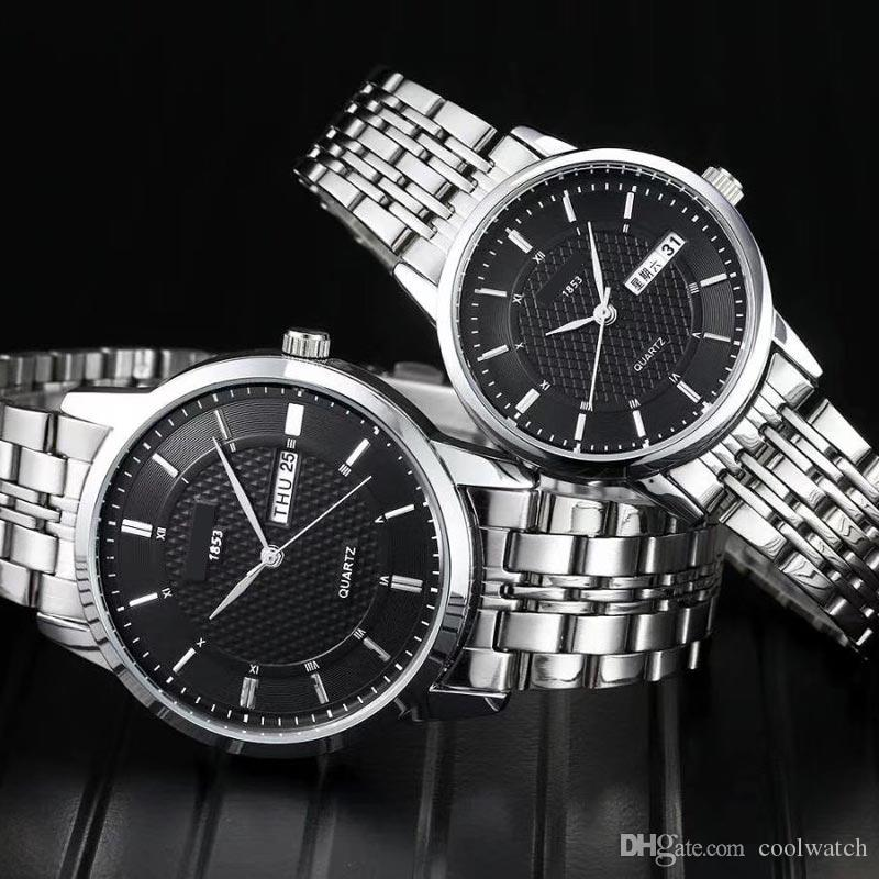 13151cb70 Couple Men Women Fashion Lovers Watches Luxury Brand Watch Stainless Steel  Band Daydate Quartz Wristwatches For Mens Ladies Relogio Feminino Buy Cheap  ...