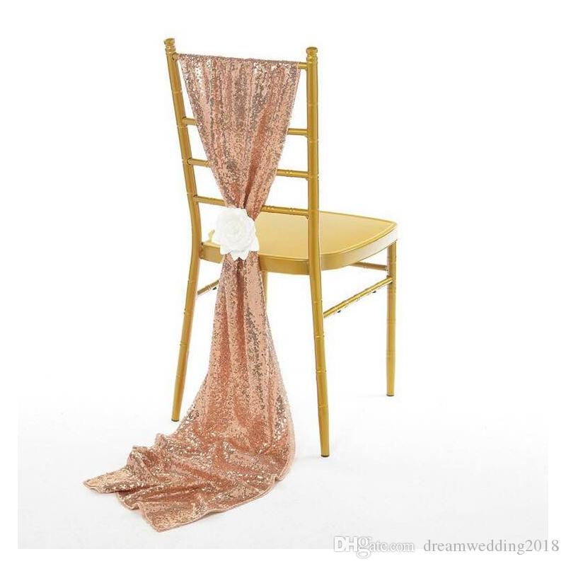 Luxury Rose Gold Sequin Chair Sashes / Table Runner Custom Made Wedding Party Decor Dazzling Chair Bows Chair Covers Size 30*275 cm