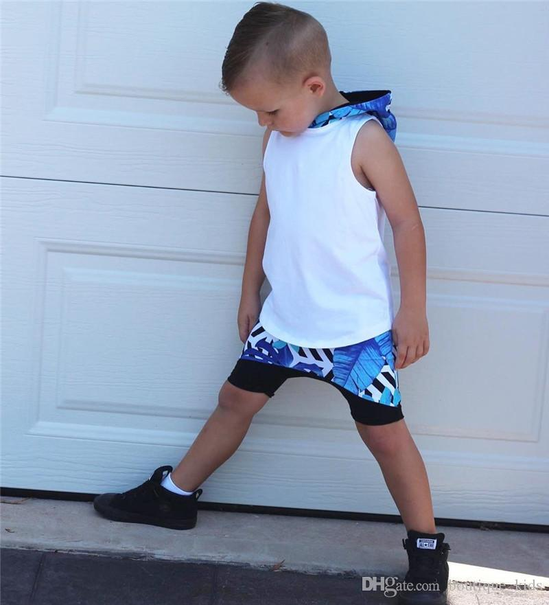 Summer Baby Boy Clothes Sleeveless Hooded Tops +Shorts Pants Boys Outfits Set Suits 2018 Kids Clothes for Boys Children Clothing 1-6Y