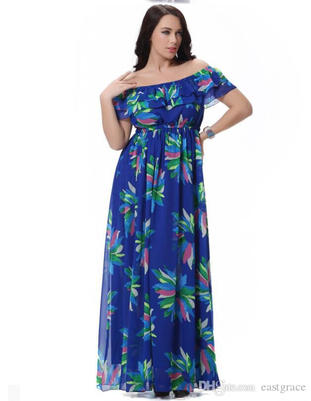 f2a0ce69ab83 Plus Size Women Bohemia Dresses Fashion Floral Print BOHO Maxi Beach Dress  Sexy Slash Neck Short Sleeve Chiffon Dress 2XL Tunic Dress White Dresses  For ...