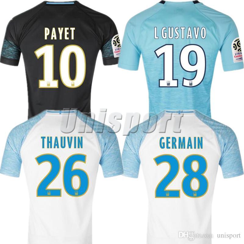 7a2ede7236 2018 19 Olympique Marseille Soccer Jerseys Payet Thauvin Gustavo ...