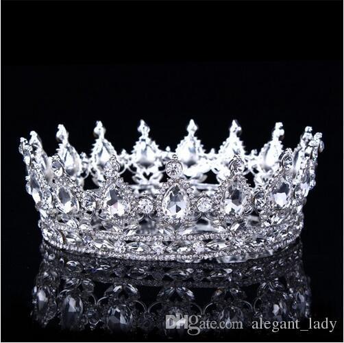 2018 Luxury Vintage Gold Wedding Crown Alloy Bridal Tiara Baroque Queen King Crown gold color rhinestone tiara crown