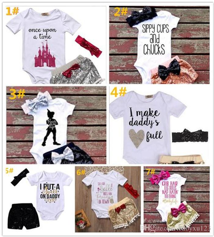 86c1e21fe205 2019 Ins Baby Girl Letters Rompers Suit Kids Short Sleeve Triangle ...