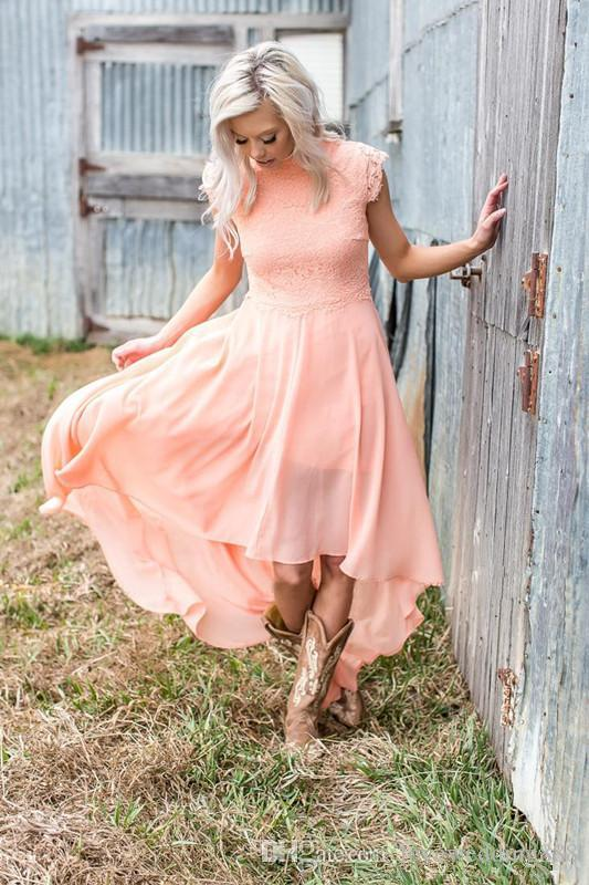 Coral Chiffon High Low Bridesmaid Dresses For Wedding Party Cheap Lace Top High Neck Cap Sleeves Country Maid Of Honor Gown 2018