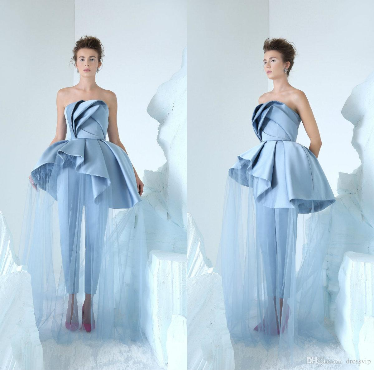 d7730a65805 2019 Azzi Osta Fashion Women Jumpsuit Prom Dresses Strapless Luxury Ruffles  Organza Satin Custom Made Evening Dress Party Wear Girls Gowns Long White  ...