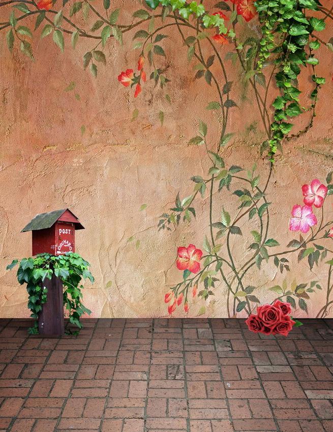 5x7ft Vinyl Outdoor Painting Flower Wall Backdrop For Kids Children Photo Studio Background
