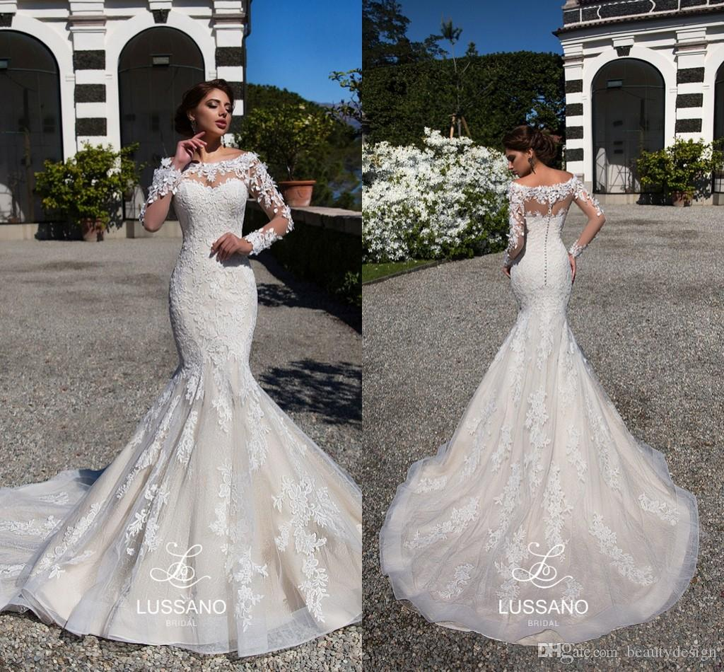 27b0d2cb0d8 Lussano 2018 Mermaid Lace Wedding Dresses Sheer Long Sleeves Appliqued  Scoop Neckline Long Train Vintage Bridal Gowns Vestidos De Novia Wedding  Dresses For ...
