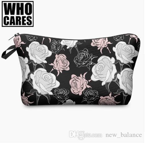 71d77dc40008 Beauty Roses Black Tropical Flowers Palms 3D Print Cosmetic Bag Women  Makeup Organizer Toiletry Bag with Zipper Neceser Trousse