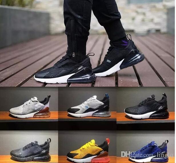 Acheter 2018 Nike Air Max Airmax 270 Nouveaux Hommes Et Femmes Tricolore Noir Blanc Chaud Chaussures De Charge Bleu Foncé Minuit Bleu Marine Hommes 270 ...