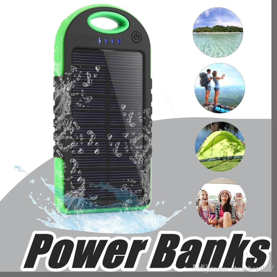 5000mAh Solar power Charger and Battery Solar Panel waterproof shockproof Dustproof portable power bank for Mobile Cellphone iphone 7 B-YD