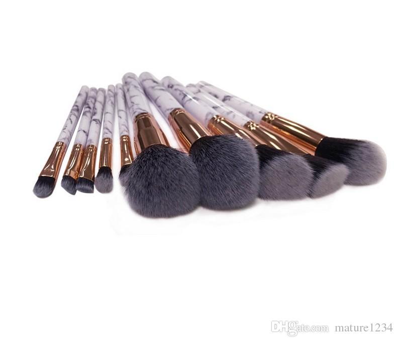 10 adet / takım Mermer Makyaj Fırçalar Allık Pudra Kaş Eyeliner Vurgulamak Kapatıcı Kontur Vakıf Makyaj Fırça Seti