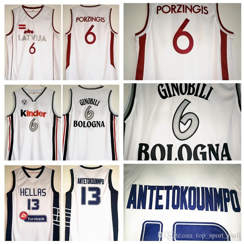 purchase cheap 998cf 74af3 NCAA Griechenland Dwayne Hellas Giannis Trikots 13 Italien Kinder Bologna 6  Manu Ginobili Lettland Kristaps Porzingis Basketball Weiß