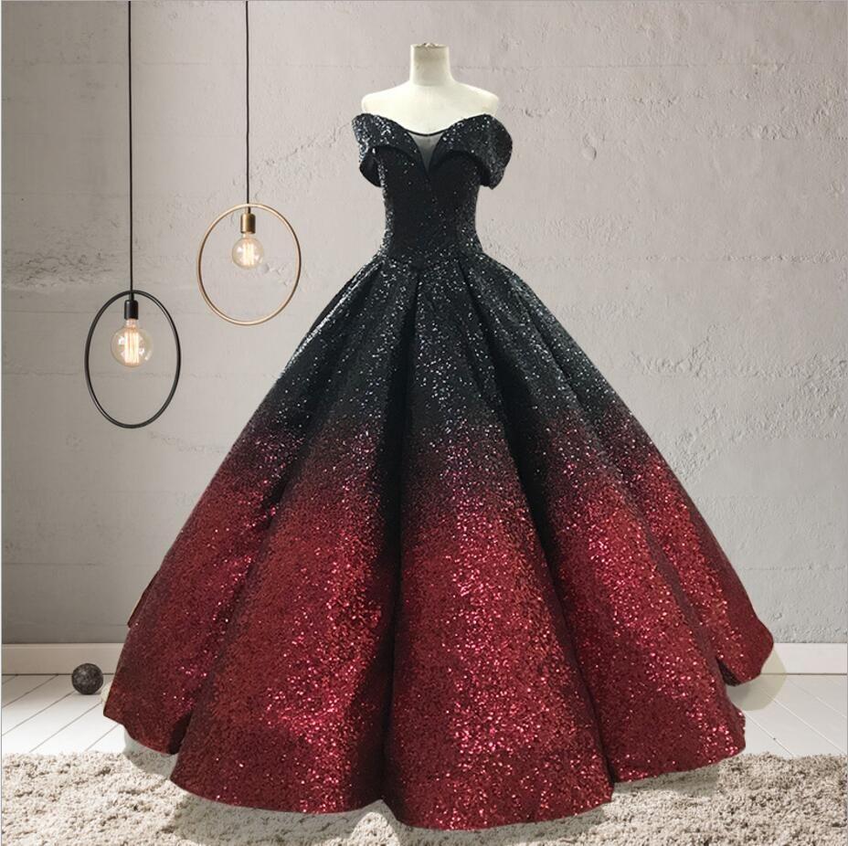 45c344e326381 Gradient Color Evening Dresses Bling Black-wine Off Shoulder Sweetheart  Ruffles Ball Gown Long Robe De Soiree Longue 2018 Prom Gown Gradient Color  Evening ...