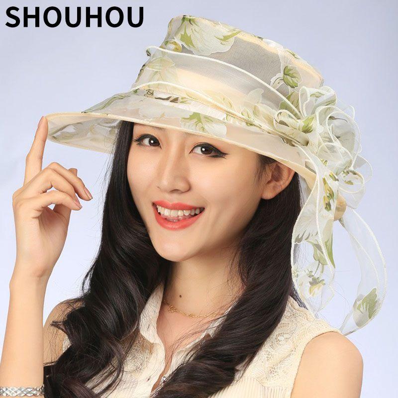 SHOUHOU 2017 Women Summer Hat Ladies  Foldable Wide Large Brim Floppy Beach  Hat Silk Flower Sun Anti Uv Cap Canada 2019 From Geworth 62f288d78eb