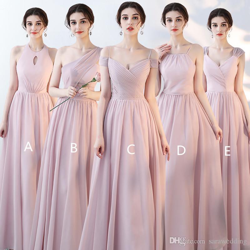 247bd6df6e Blush Pink Chiffon Long Bridesmaid Dresses 2019 New Wedding Guest Dress  Floor Length Party Gowns Elegant Cheap Bridesmaid Dress Cranberry Bridesmaid  Dresses ...