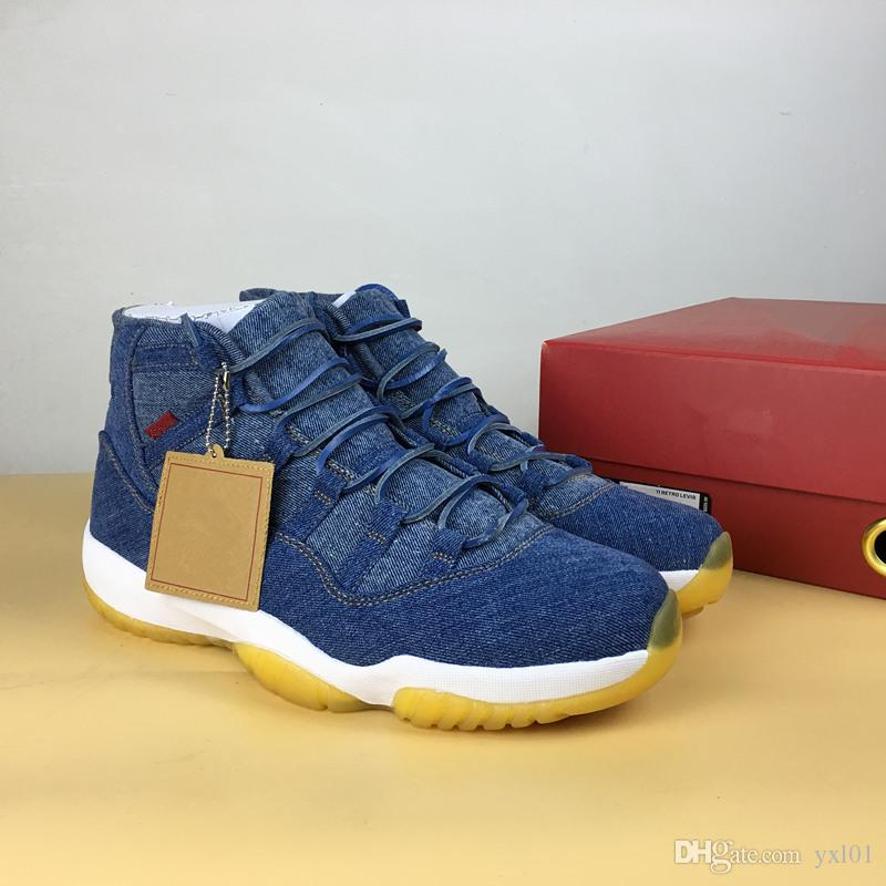2018 With Box+Carbon Fiber Casual 11 Denim NRG X Blue Jeans XI 914433 Basketball  Shoes for Men s 11s Flight Sports Sneakers Size 40-47.5 11 Basketball Shoes  ... e08537b33