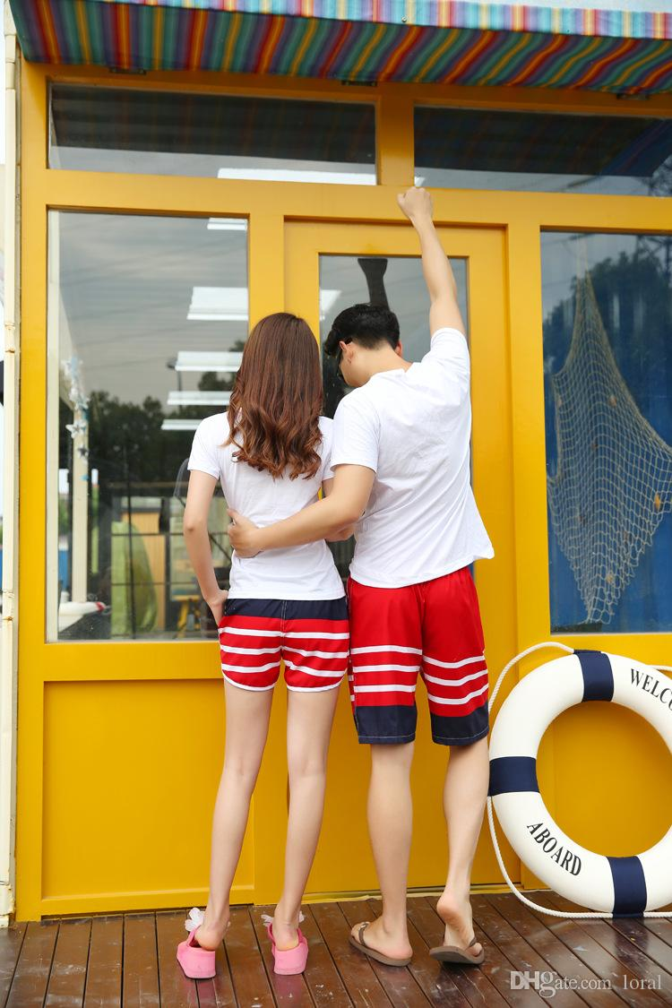 Aşıklar Yaz Mayo Erkek Kadın Kurulu Şort Çizgili Plaj Tatil Rahat Giyim Şort