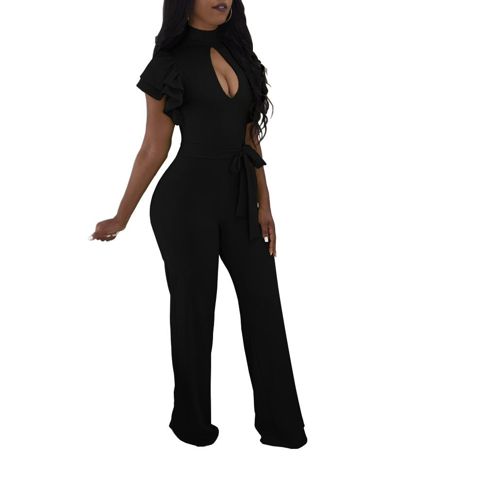 Sexy Women Rompers Wide Leg Party Jumpsuit Bodycon New Ruffle Sleeve Jumpsuit Office Work High Waist Plus Size Long Straight Playsuits