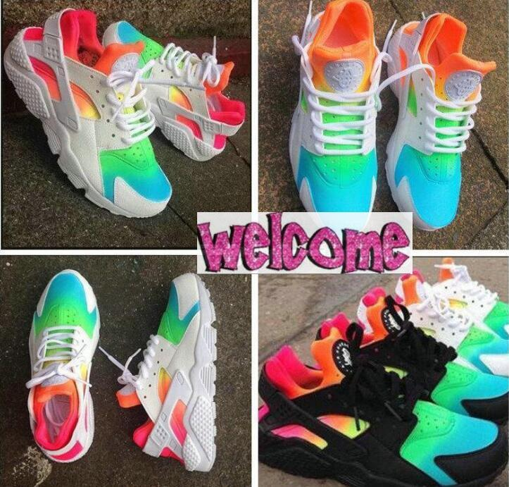 wholesale dealer b997d 3fc6d 2017 New Air Huarache Running Shoes For Men Women Huaraches Rainbow Harache  Ultra Breathe Shoes Huraches Multicolor Hurache Sneakers