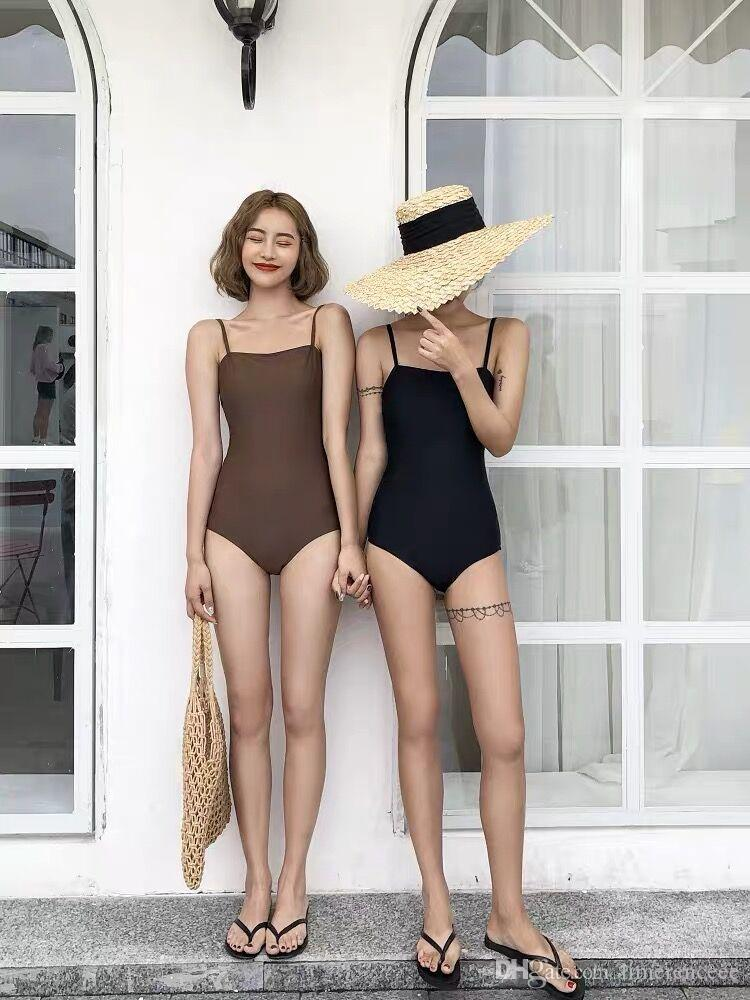 60000faca6 2019 Ins New Retro Sexy Conjoined Bikini Big And Small Chest Covered With Thin  Skinny
