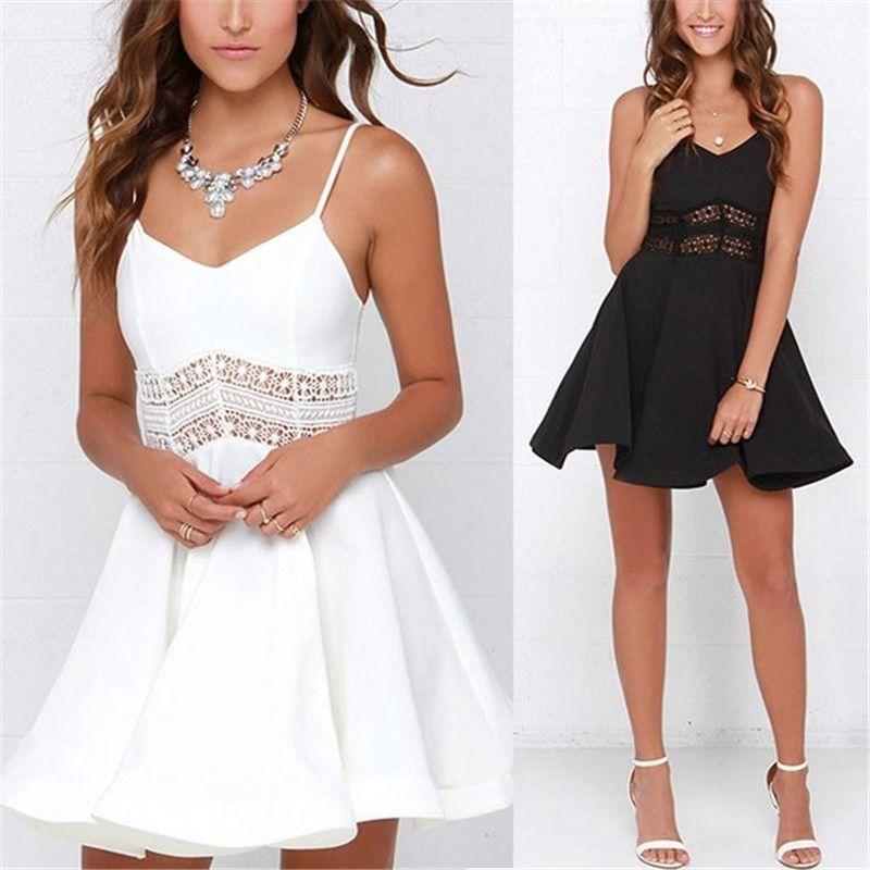 1dc9e278e4 White Black Vestidos 2019 Summer Fashion Women Sexy Strap V Neck Crochet  Lace Waist Skater Dress Casual Party Mini Short Dresses Black Dresses On  Sale Knee ...