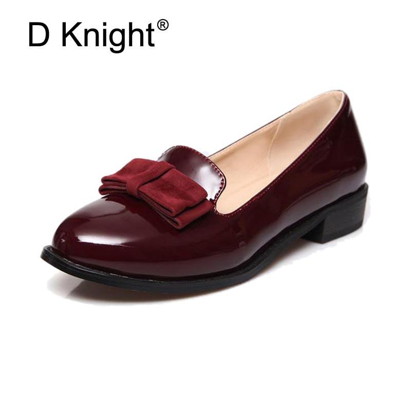 ecc3c67dce51 Women Oxfords Vintage Shining Pu Leather Flat Oxford Shoes For Women  Fashion Bow Flats Ladies Casual Slip On Flat Loafers Shoes High Heel Shoes  Mens Casual ...