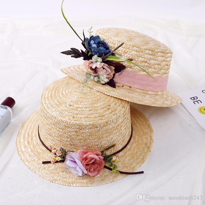 Fashion Ladies Wide Brimmed Beach Visors With Handmade Flower Garland Foldable Big Straw Hats For Women UV Protection Bohemia Sun Hat