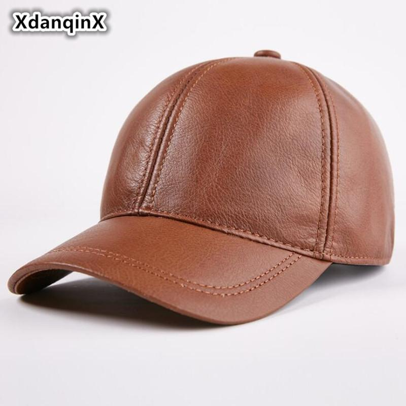 16c802266fb XdanqinX Men s Autumn Winter Single Warm Genuine Leather Baseball Caps New  Adjustable Size Youth Cowhide Leather Visor Brand Cap Kangol Baseball Caps  From ...