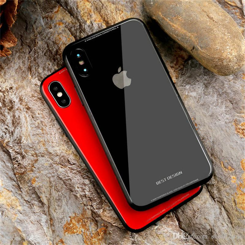 hot sale online 7ce60 ecad1 for iphone x case hybrid tempered glass glossy cases luxury shiny hard back  cover for iphone X 10 8 7 6s plus iphonex cases solid color