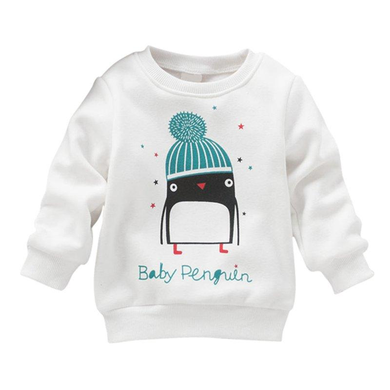 Unique Born Long Sleeve Sweater Pullover Cotton Sweater Kid Baby Girl Penguin Print New