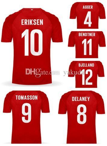 6fc79de33 2019 18 19 Away White DENMARK Thai Quality Soccer Jerseys Shirts,  Customized Home Red 10 ERIKSEN 4 AGGER 11 BENDTNER 9 TOMASSON 12 BJELLAND  Wear From Yakuda ...