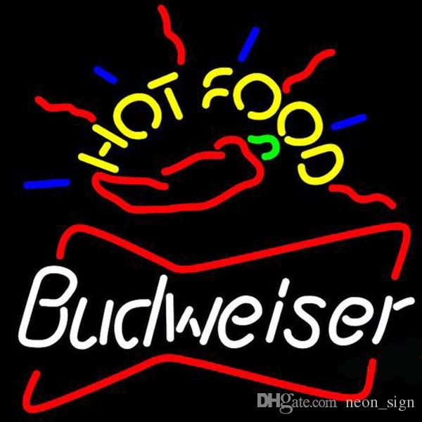 "Budweiser Hot Food Neon Sign Handmade Custom Real Glass Tube Store Beer Bar Restaurant Motel KTV Club Advertising Display Neon Signs 24""X24"""