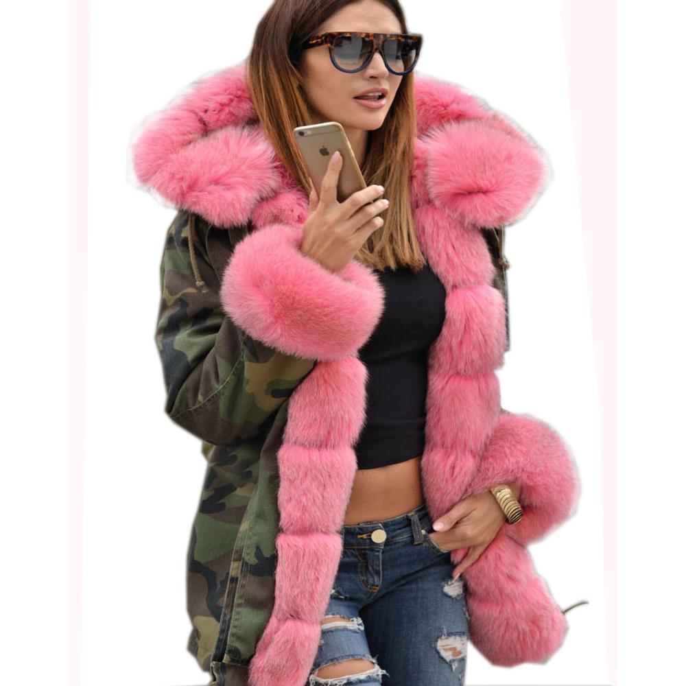 Compre Roiii Engrosado De Piel Sintética Camuflaje Rosa Fuerte Parka Mujer  Con Capucha Chaqueta De Invierno Largo Abrigo US Plus Tamaño S M L XL XXL  3XL ... fbad220d39b6
