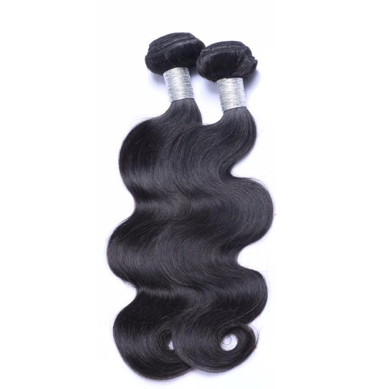 Mongola dei capelli umani 4 bundle con 4X4 chiusura del merletto dell'onda del corpo umano Capelli Bundles Colore Naturale Sfuso Weves 8-28inch 5 parti / lotto