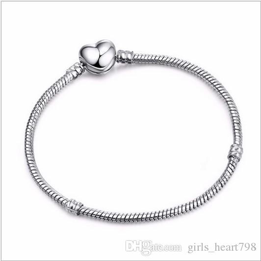 818c36047 Heart Clasp Wholesale 925 Sterling Silver Plated Bracelets 3mm Snake ...