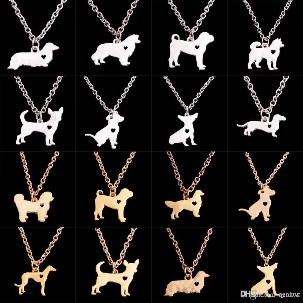 Wholesale Chihuahua Dog French Bulldog Bull Terrier Soviet Wolf Cihuahua Hunting Dogs Dachshund Border Gold Silver Plated Pendant Necklace Xmas White