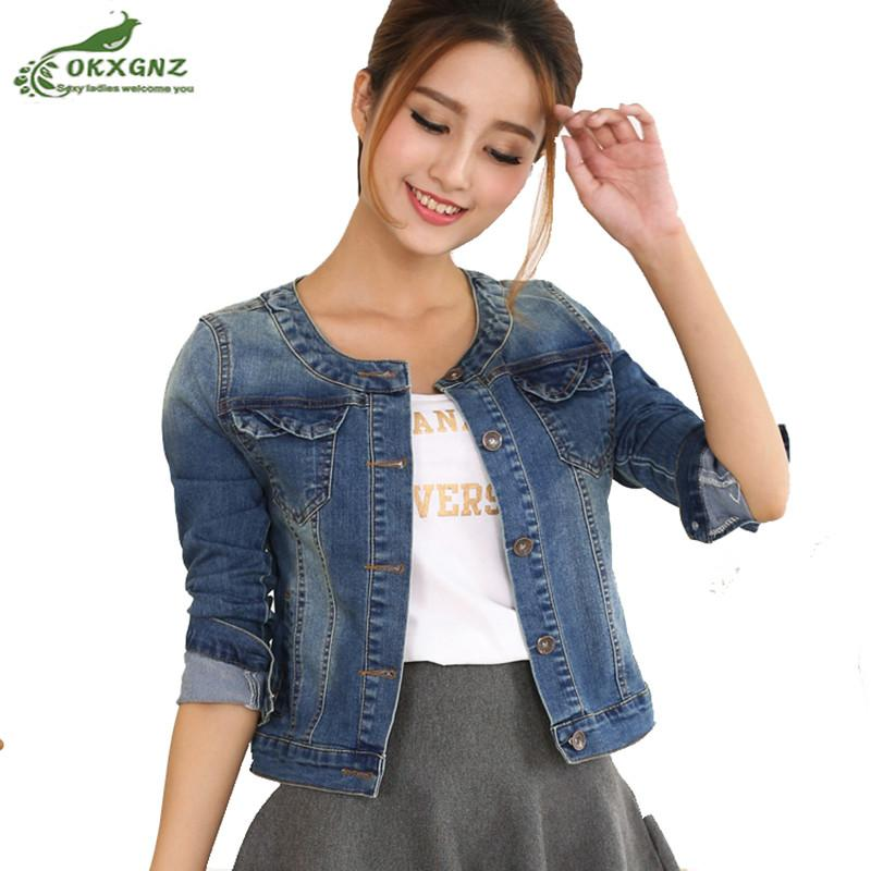 2018 Spring Denim Jacket For Women Plus Size Long Sleeve O Neck Short Jeans  Jacket Long Sleeve Ladies Coats OKXGNZ AF1011 Women Jackets White Jacket  From ... 3f901acabd