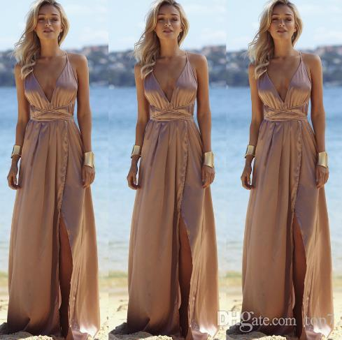 Summer 2018 Women Fashion Casual Solid Color Harness Maxi Dresses Bandage Long  V Collar Beach Women Sexy Dress Vestidos Designer Evening Dresses Short ... b4b2170a3611