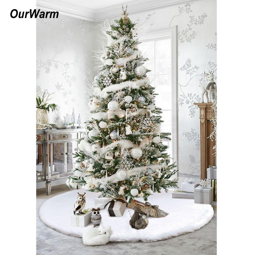 wholesale ourwarm christmas tree skirts 48inch white faux fur xmas tree decoration merry christmas supplies new year home outdoor decor christmas - Decorated Christmas Trees For Sale