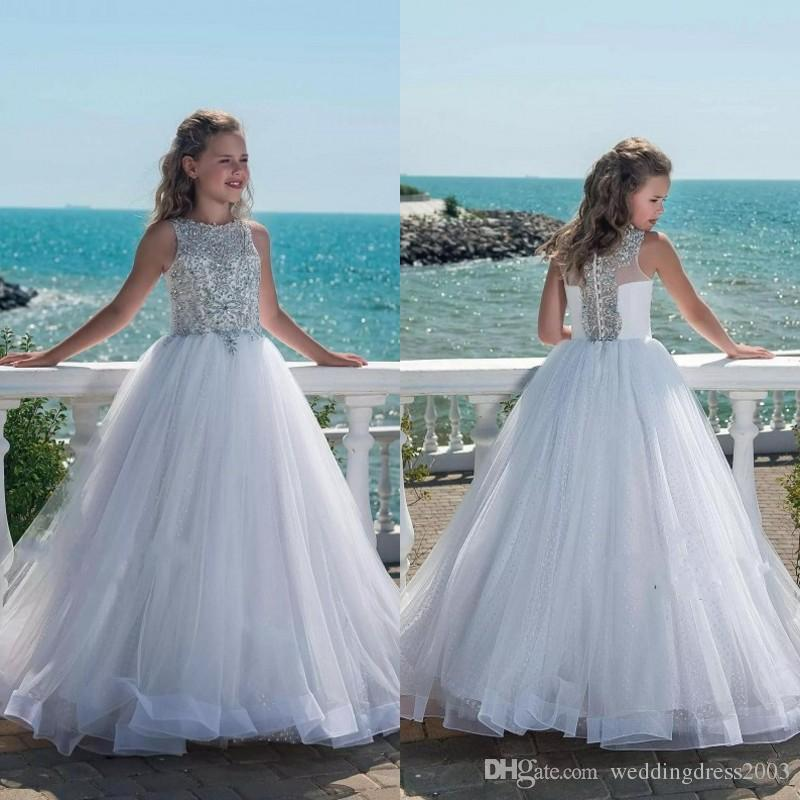 Luxury Princess Flower Girl Dress 2018 New Design Sparkly Silver ...