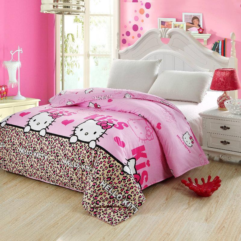 Copriletto Hello Kitty Singolo.Acquista 100 Cotone Leopard Cartone Animato Ciao Kitty Copripiumino
