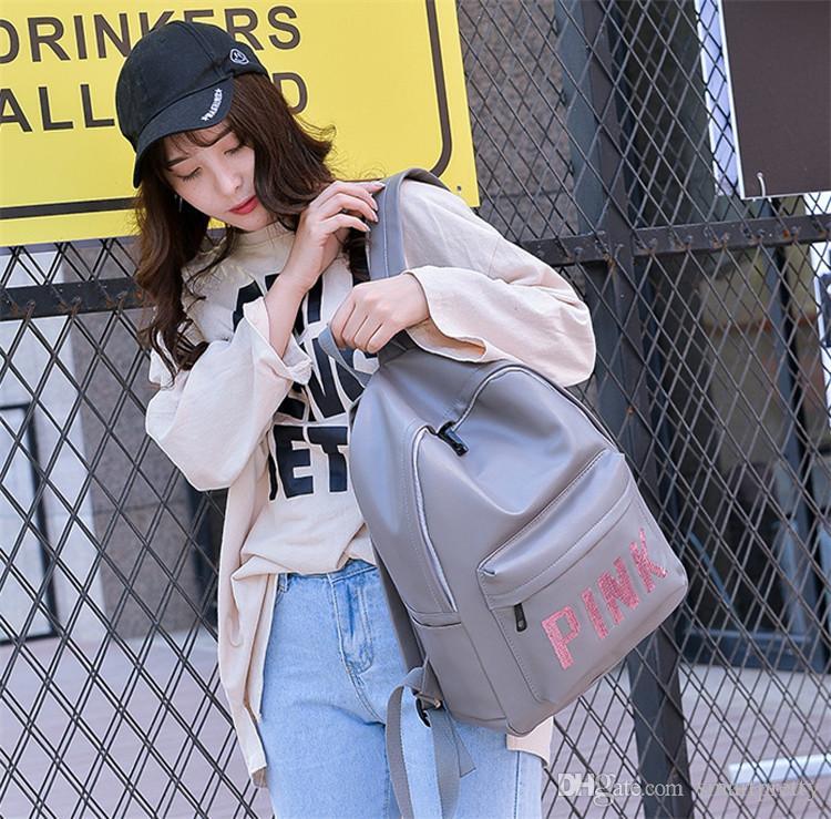 Sequins Love Pink Letter Backpack Girls Women PU Leather Shoulder ... 4ca2ffac0143b